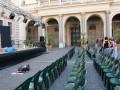 Preparativi a piazza Santa Maria in Trastevere